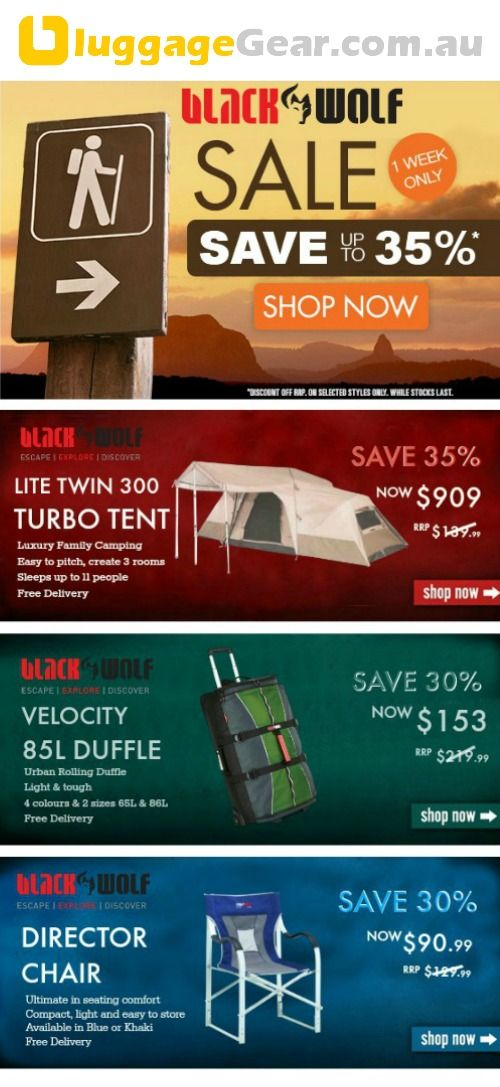 SALE ALERT Up to 35% OFF ALL BLACKWOLF Adventure Gear at luggageGear.com.au  Tents, Swags, Bags, Hiking, Travel & more.   Get in quick Sale ends Sunday, 3 August 2014   http://www.luggagegear.com.au/blackwolf/