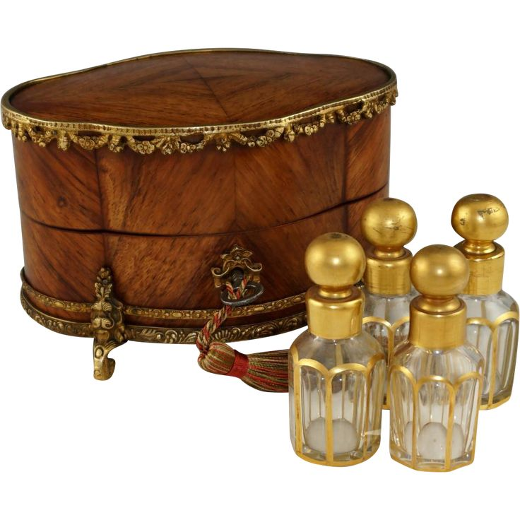 Antique French Perfume Casket, Gilt Bronze Kingwood Inlaid Box, Four Crystal Scent Bottles -- found at www.rubylane.com #vintagebeginshere
