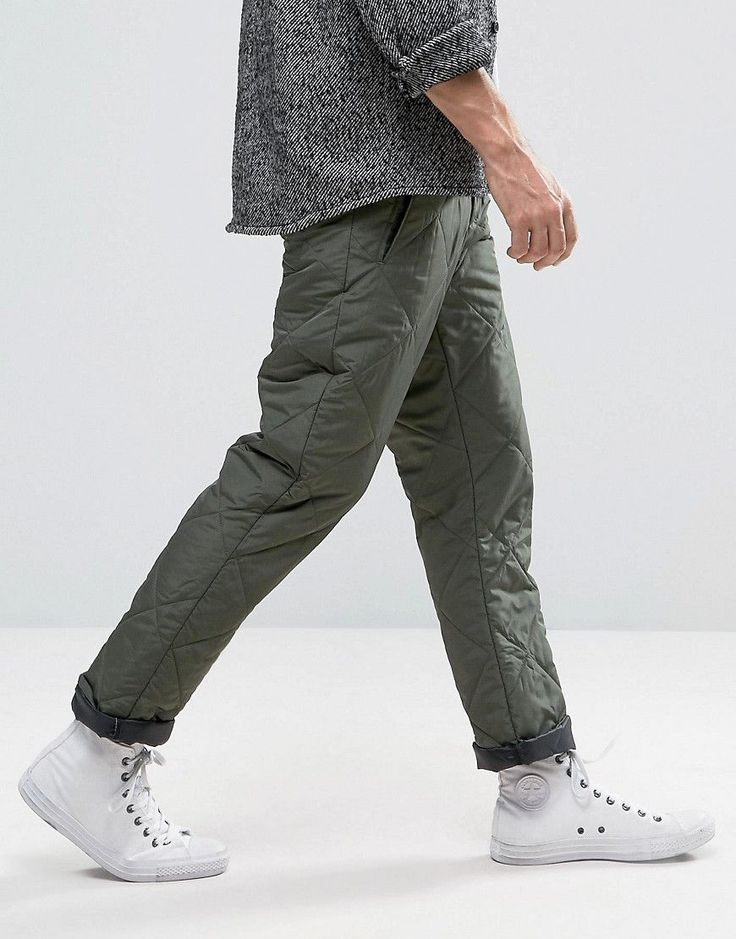 ASOS Straight Leg Pants in Quilted Khaki - Green