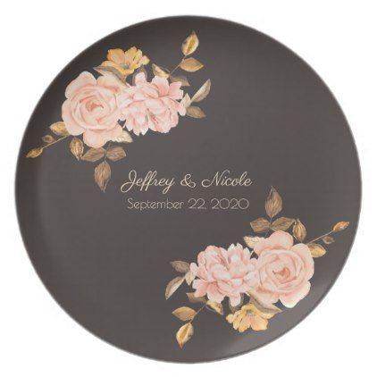 Elegant Cream Rose Bouquet Wedding Dinner Plate - chic design idea diy elegant beautiful stylish modern exclusive trendy