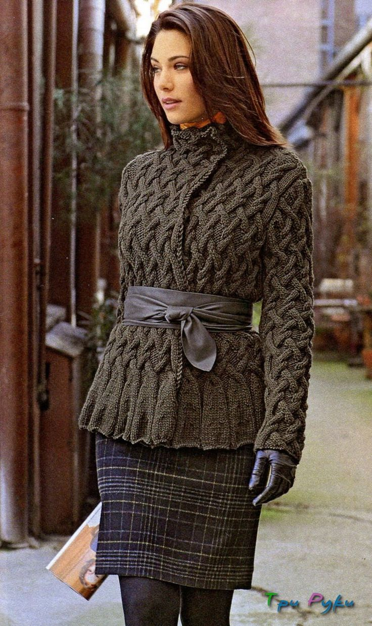 Кардиган с узором из кос, для стильных и деловых женщин