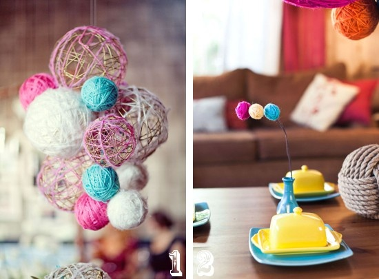Yarn crafts for wedding decor