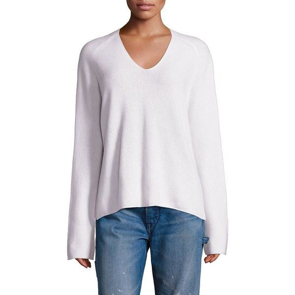 Vince Women's Cashmere V-Neck Pullover ($345) ❤ liked on Polyvore featuring tops, sweaters, contemporary sp - vince, off white, raglan sweater, long cashmere sweater, vince sweaters, v neck sweater and pullover sweater