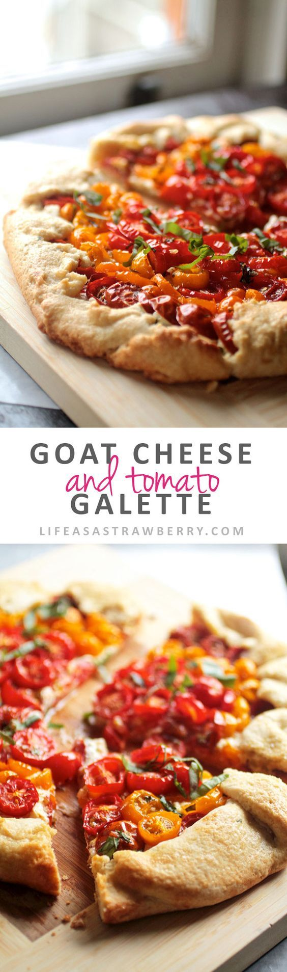 Goat Cheese Tomato Galette | This savory galette uses fresh summer tomatoes, creamy goat cheese and a sprinkling of fresh basil on a fresh homemade pie crust. Great as a side dish or as your main course - a delicious summer recipe! Vegetarian.