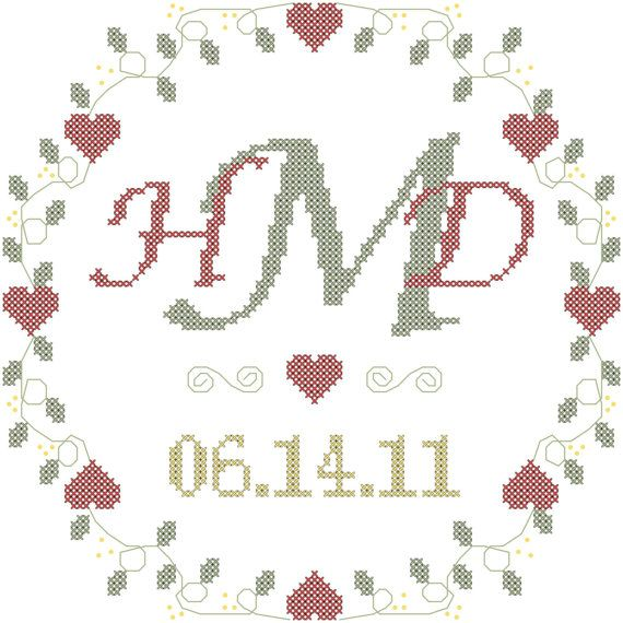 Modern Monogram Cross Stitch Wedding Sampler Pattern
