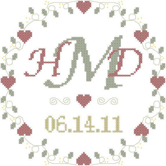 Modern Monogram Cross Stitch Wedding Sampler Pattern