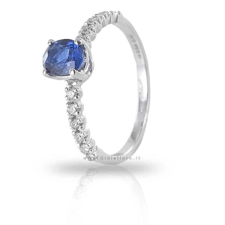 Anello con Diamanti e Zaffiro Kanch ct 0.54 Gioielli Valenza gioielloro.it - E-Commerce - Vendita on line di orologi e gioielli -   ZAFFIRO KANCH and diamonds ring, madein Italy, in Valenza