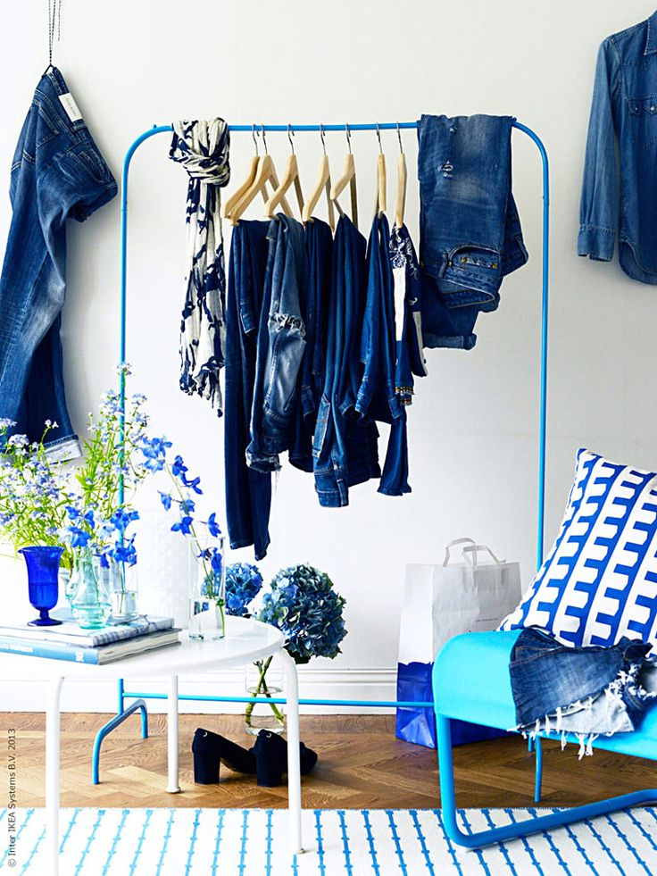 Perfect for the Tall One, especially in this bright blue!  [IKEA] Hanger rack