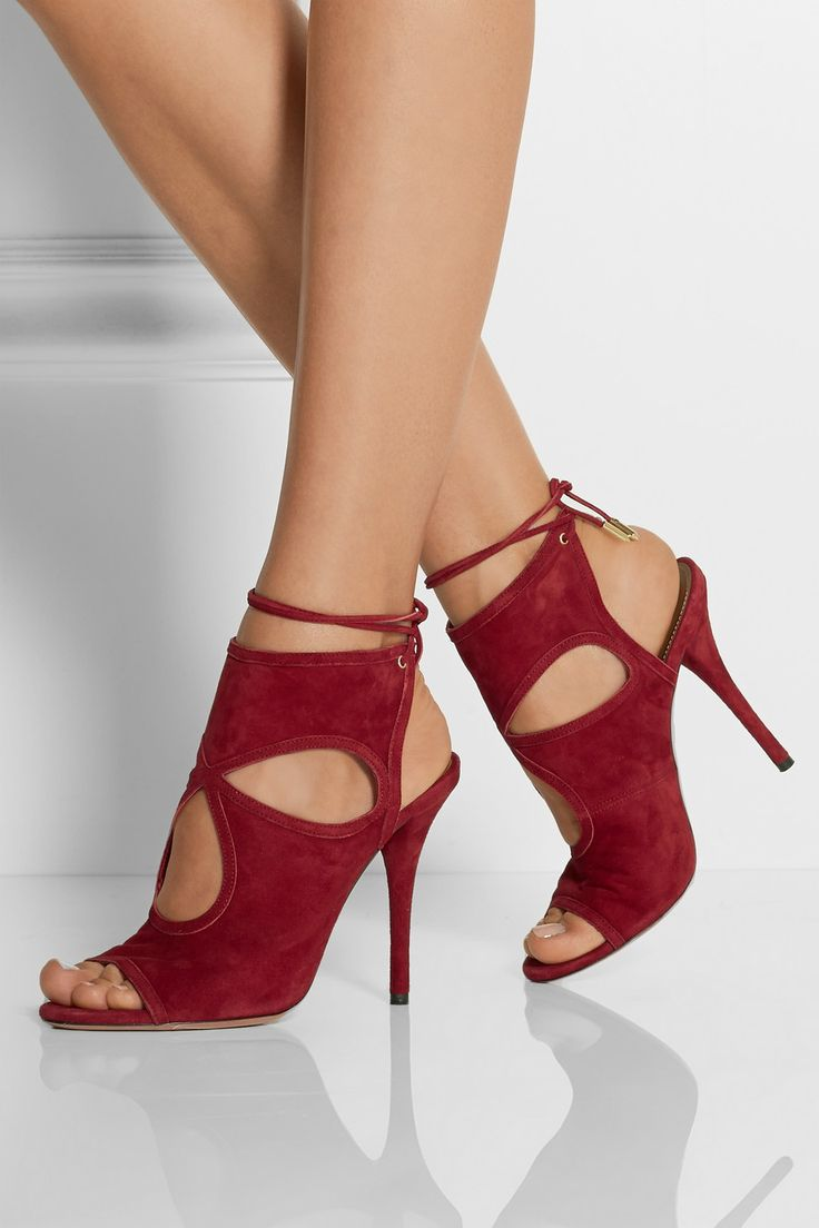 Aquazzura | Sexy Thing cutout suede sandals | NET-A-PORTER.COM