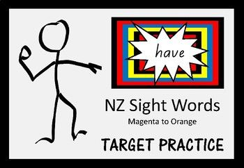 Sight word targets for words at the Magenta to Orange level of the NZ colour wheel.A great activity for your active students who enjoy hands-on learning.  Your students can work on their hand-eye co-ordination while learning their sight words.A suggestion for using these cards is to place them on the floor or the wall/board.
