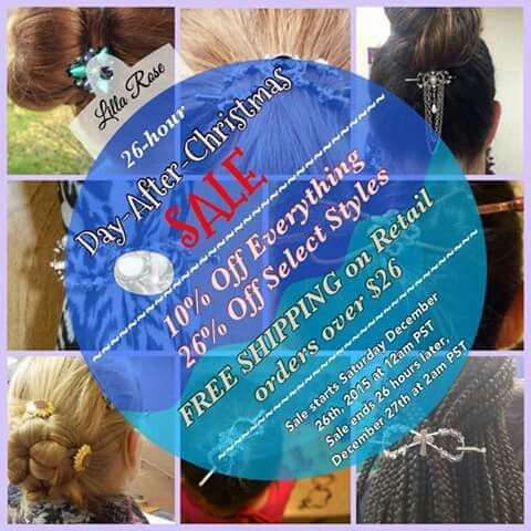 26hoursale! after Christmas deals  beautiful durable unique haircessories for your hairdos and updos. www.lillarose.biz/hairtastic