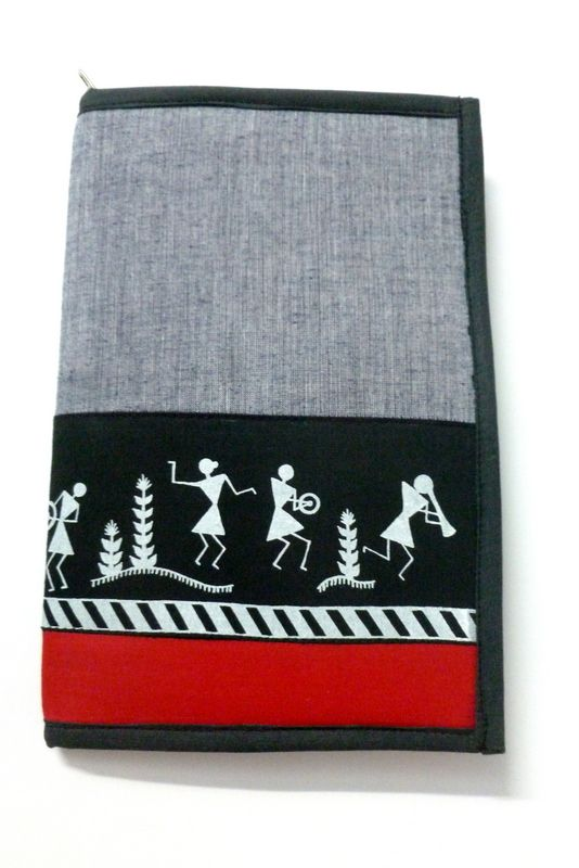 Warli Print Cotton Notepad Cover With Notepad (Zip Cover)  #filefolder #craftshopsindia