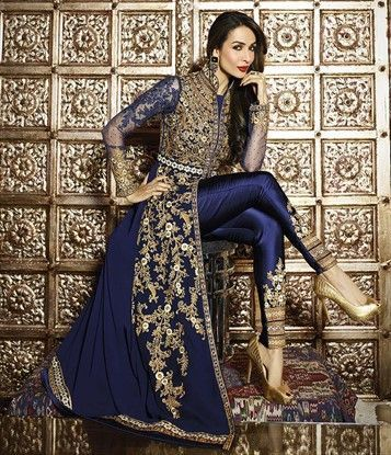 458325 Blue color family Bollywood Salwar Kameez in Faux Georgette fabric with…