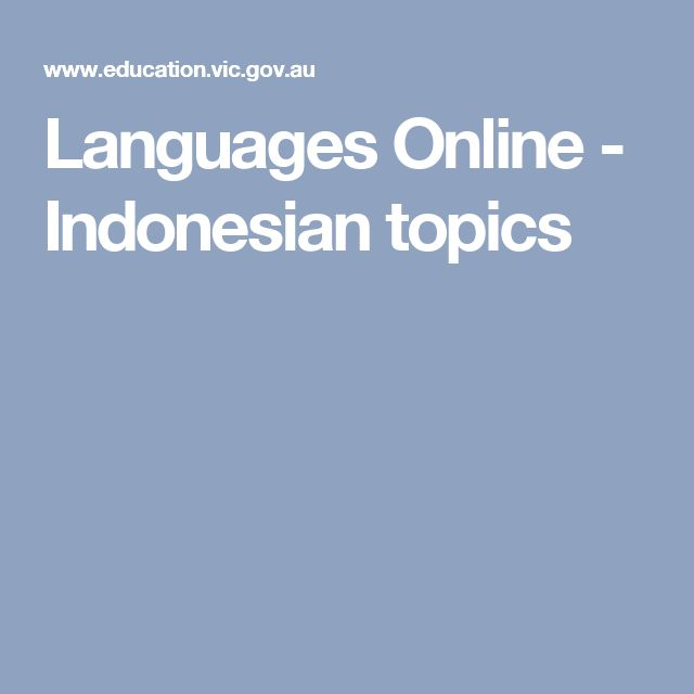 Languages Online - Indonesian topics and online resources