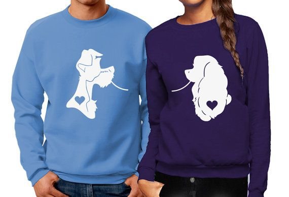 Lady & The Tramp Inspired Couples Crewneck Sweatshirts - Matching Disney Sweaters