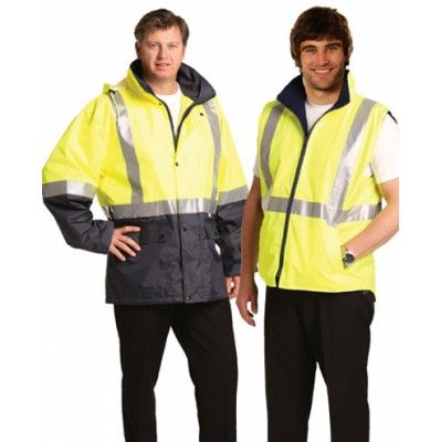 Hi-Vis Three in One Safety Jacket with 3M Tapes  Colours : Orange/Navy   Yellow/Navy Work Wear / Hi-Vis Jacket / Pants (SW20A_win)