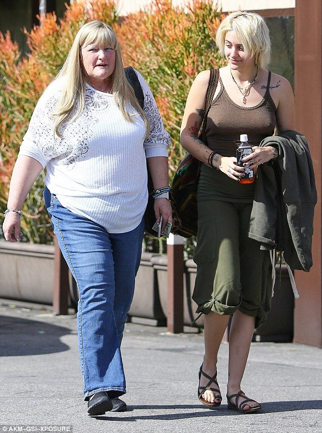 Paris Jackson (age 18) with her mother Debbie Rowe in February 2017.
