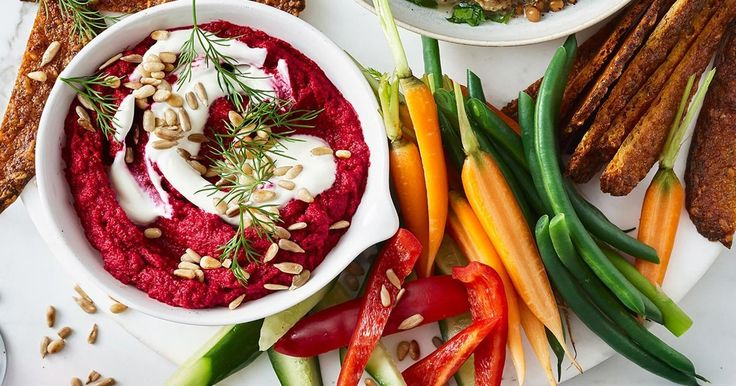 Make your own dip with this sensational roasted beetroot, chickpeas, yoghurt and dill recipe.
