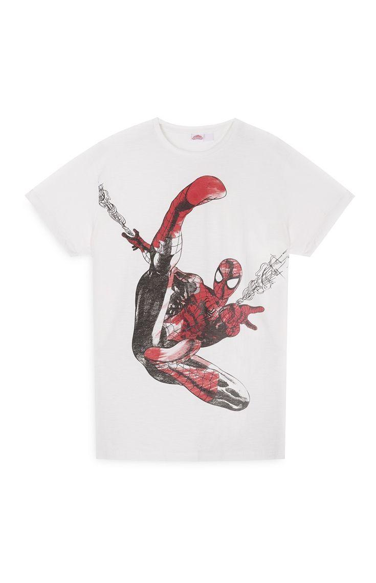 Primark - Camiseta blanca de Spiderman y telaraña