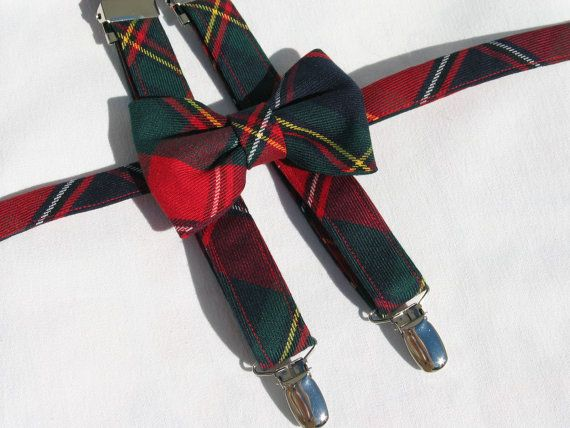 Quebec Tartan Suspenders and Bow Tie Set Red and by dolldressedup
