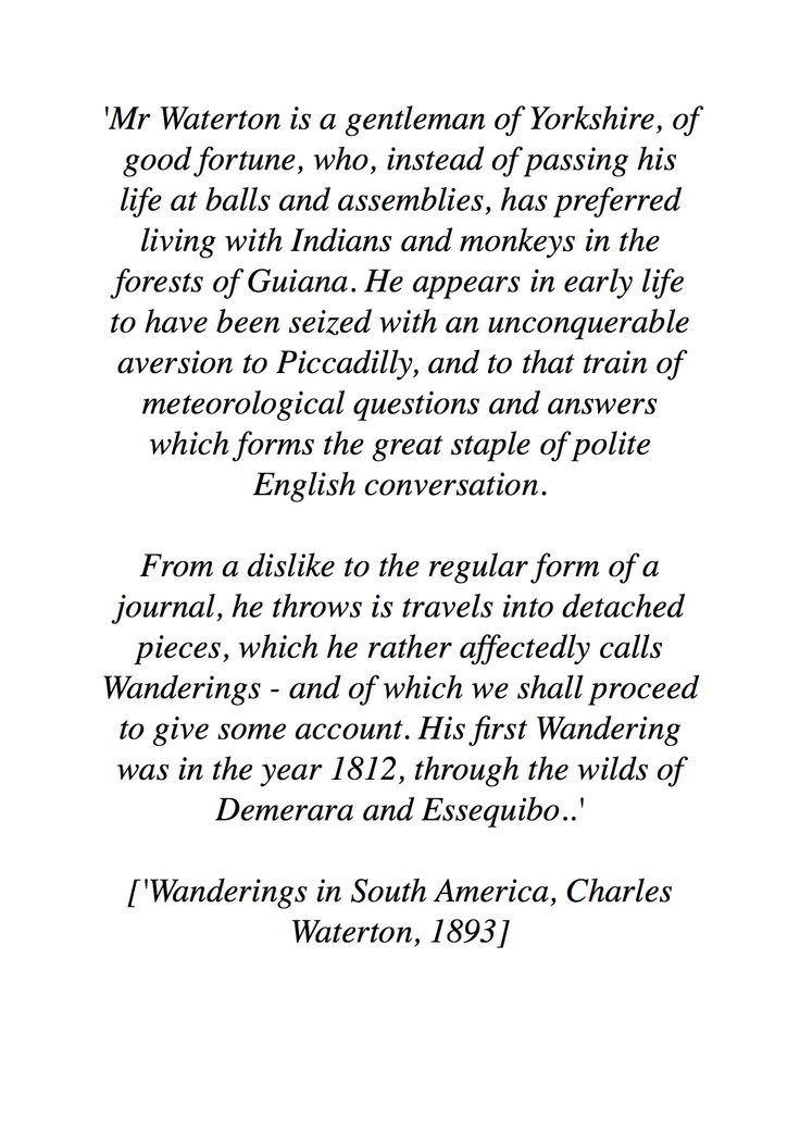 Opening sentences of Sydney Smith's review of 'Waterton's Wanderings in South America', an account of Charles Waterton's travels in Guyana two centuries ago.