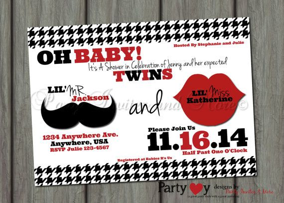 Baby Shower Twins Boy and Girl Mustache Lips Printable Invitation on Etsy, $8.00