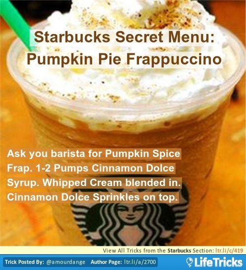 Starbucks Secret Menu: Pumpkin Pie Frappuccino