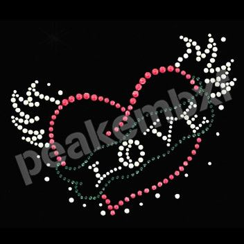 Love With Wing Valentine Rhinestone Heat Transfers Wholesale 30pcs/lot