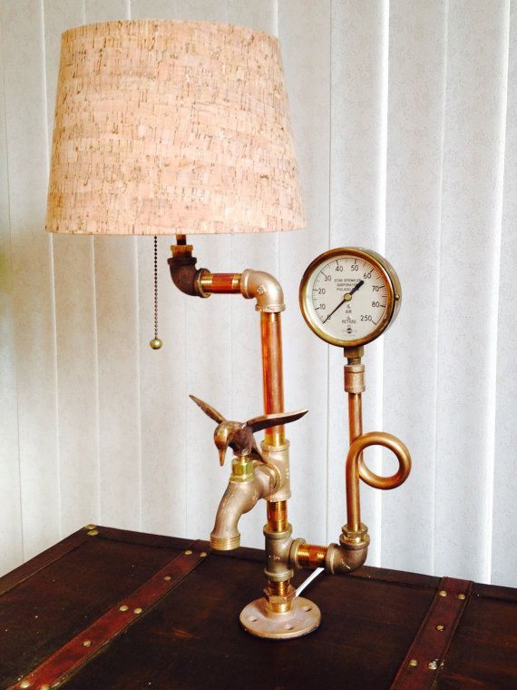 Steampunk Lamp, Industrial Lamp, Desk Lamp, Unique Lamp, Office Lamp,Table Lamp, reclaimed wood