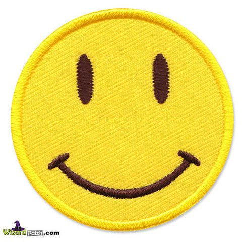 SMILEY FACE EMBROIDERED PATCH BY WIZARD PATCH