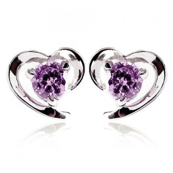 Pair of Graceful Faux Crystal Heart Earrings For Women #CLICK! #clothing, #shoes, #jewelry, #women, #men, #hats, #watches