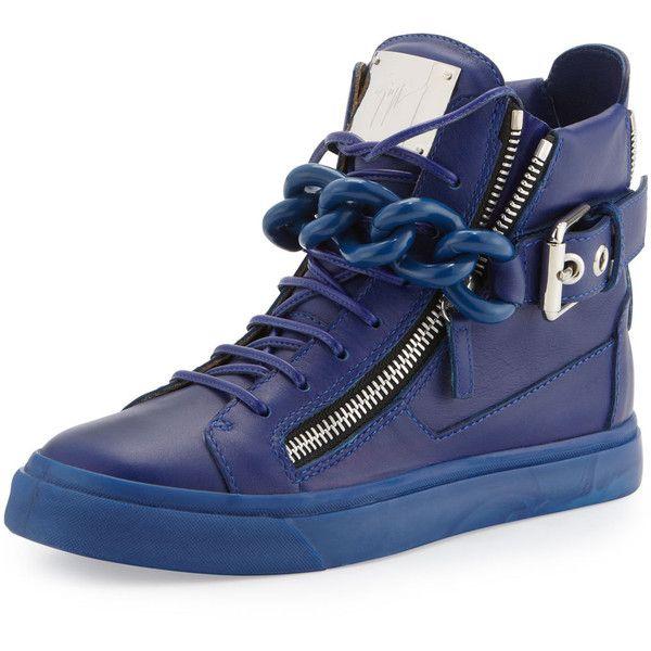 Chain & Zipper Leather High-Top, Praga Bluette - Giuseppe Zanotti $1,046.25