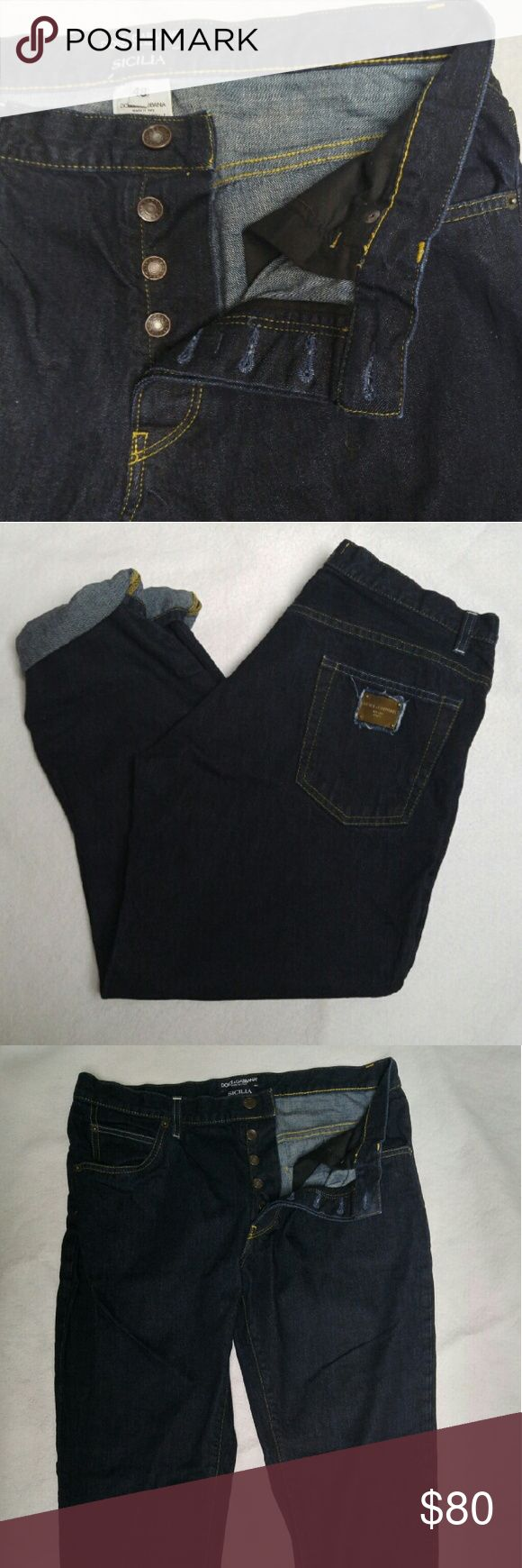 Dolce & Gabbana Sicilia Jeans Dolce & Gabbana Sacilia  Italy Dark Indigo wash Button fly Tapered Leg 100%cotton Size 48 I am not suggesting these are size 12, but believe they are close Please refer to measurements when converting size!!! Waist:34 Rise:10 Inseam 28 j-9 Dolce & Gabbana Jeans