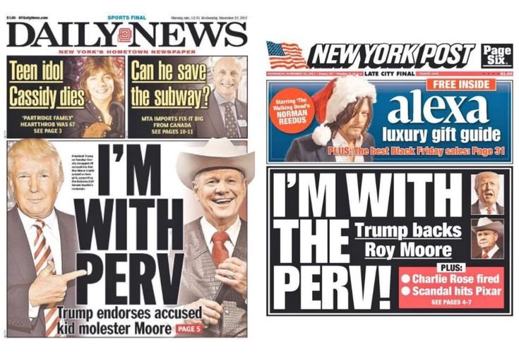 NY Post and NY Daily News Covers Match on Trump's Moore Backing: 'I'm With Perv'