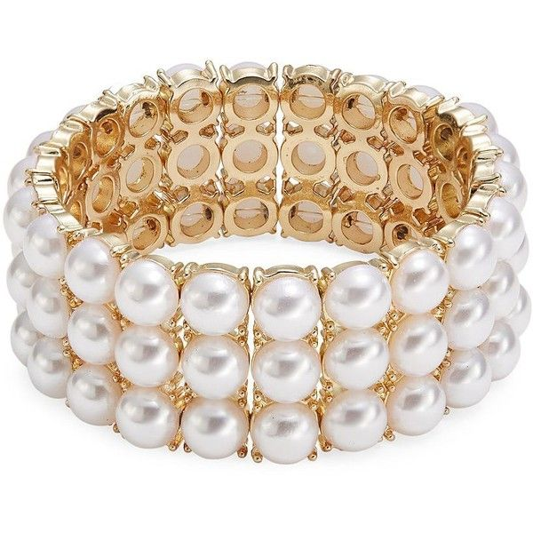 Design Lab Lord & Taylor Women's Faux Pearl Stretch Bracelet ($38) ❤ liked on Polyvore featuring jewelry, bracelets, white, fake pearl jewelry, imitation jewelry, artificial jewellery, fake jewelry and white jewelry
