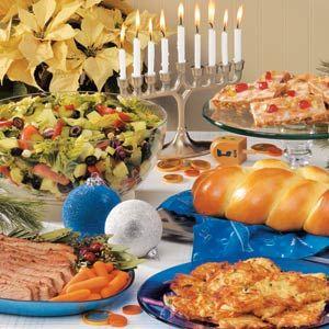 Meal for Hanukkah, Festival of Lights with a timeline