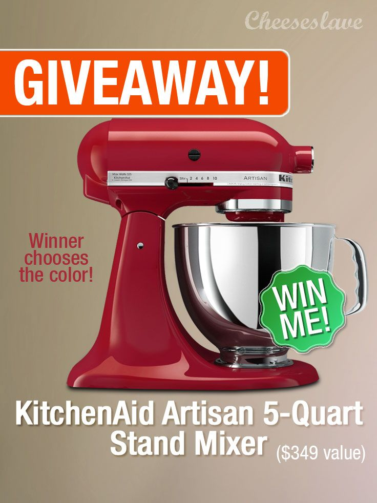 If you thought last month's giveaway was awesome, this month's is even better. I'm giving away a  KitchenAid Artisan Series 5-Quart Mixer -- a $349 Value.