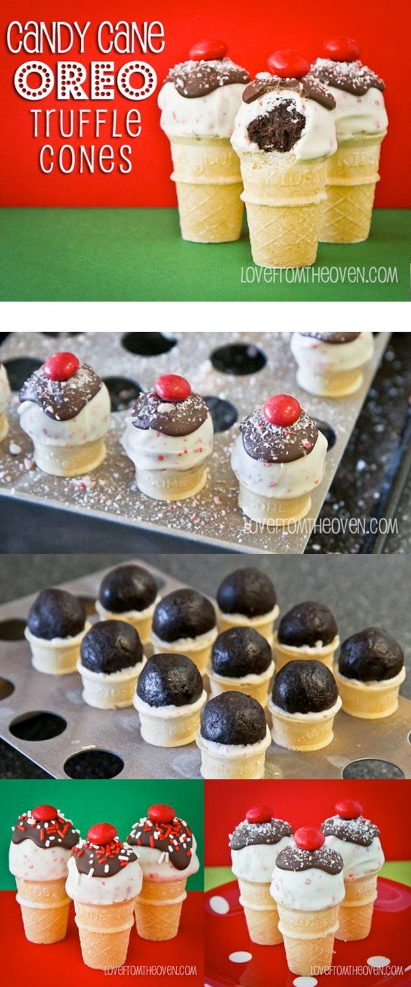 Candy Cane Truffle Cone Pops.  So easy and oh my goodness, they are delicious.
