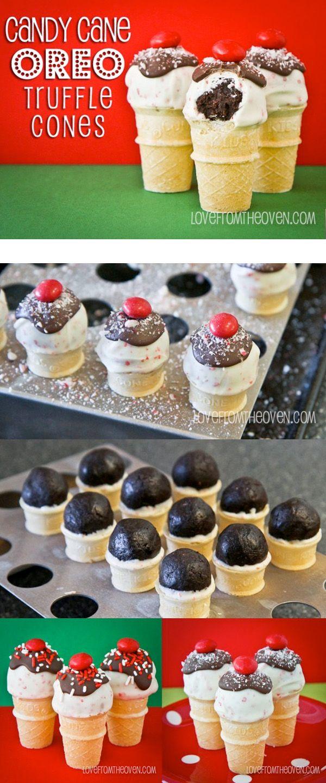 Love these easy and delicious no-bake Oreo truffles on mini ice cream cones!