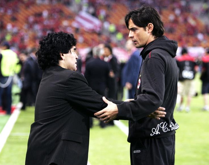 Two living legends - Maradona + Inzaghi