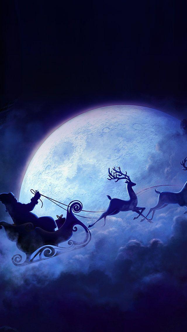 Santa Claus Drive Reindeer iPhone 5s wallpaper Merry