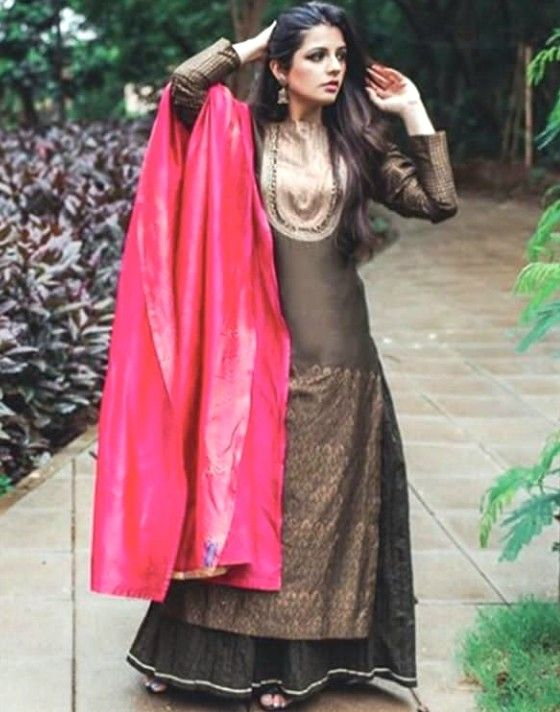 Grey Kurti With Pink Color Silk Tta Colour Combination In 2019 Combinations