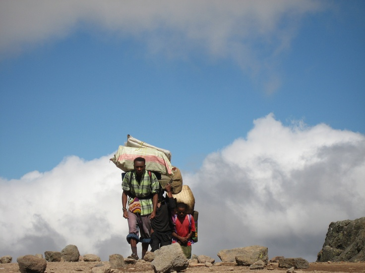 Porters on Mt. Kilimanjaro, Tanzania
