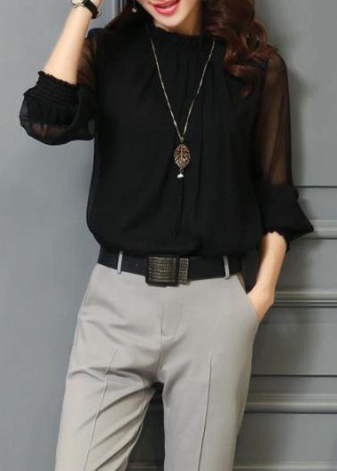 Long Sleeve Solid Black High Neck Blouse