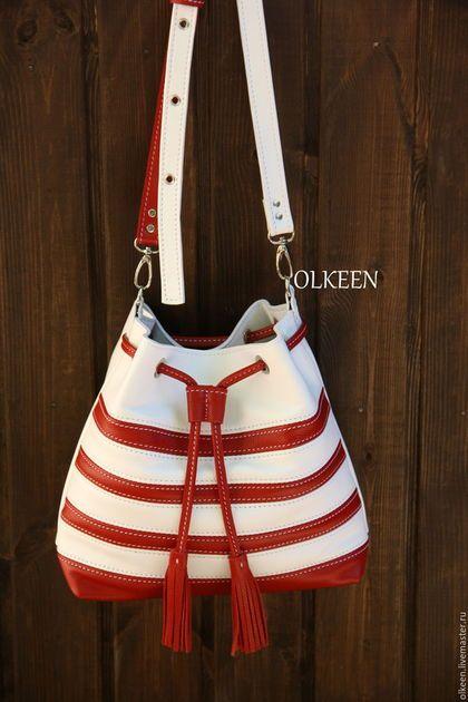 Женские сумки ручной работы. If сумка-торба красно-белая. OLKEEN. Ярмарка Мастеров. Сумка в полоску