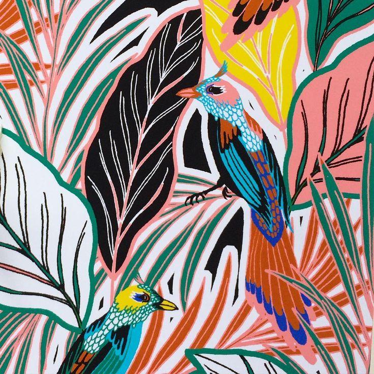 'Birdie' in the jungle upholstery fabric #designboxcreative