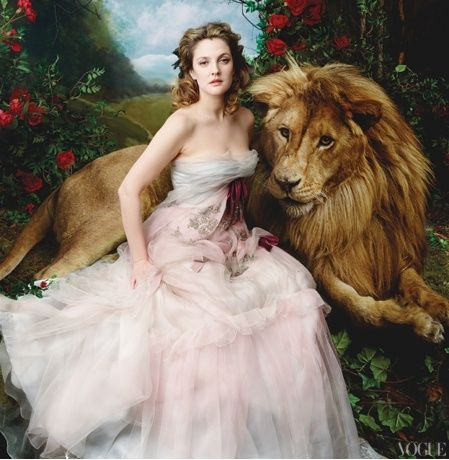 Drew Barrymore and Aslan from Narnia