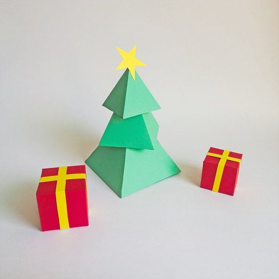 Diy Paper Christmas Tree With Gift Boxes Christmas Etsy In 2020 Diy Paper Christmas Tree Christmas Tree With Gifts Paper Christmas Tree