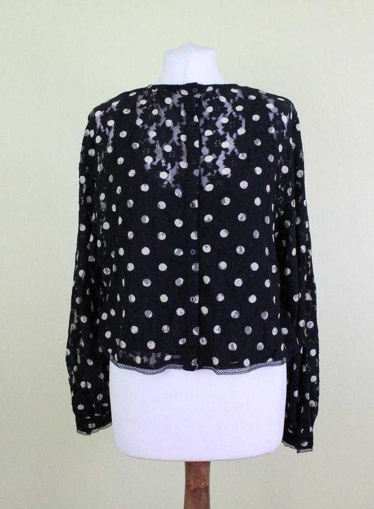 ff673a3c BNWT ZARA woman black polka dot long sleeve tops blouse size S UK 8 ...