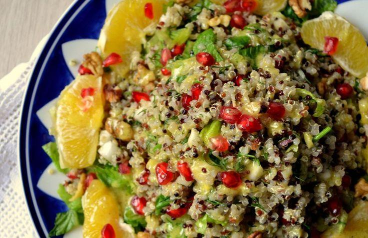 Γιορτινή σαλάτα με κινόα, πορτοκάλι, ρόδι κ καρύδια